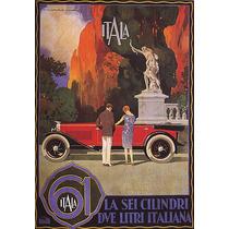 Carro Antigo Homem Mulher Italiano Poster Repro