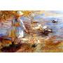 Menina Alimentando Patos Lagoa Pintor Sharp Tela Repro