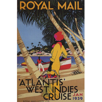 Royal Mail Mar Mulher Cesta Flores 1939 Poster Repro
