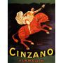 Cartaz Poster Vintage Bebida Vermouth Cinzano Homem Cavalo