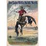 Cavalo Animal Cawboy Chapéu Rodeio Poster Repro