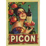 Bebida Picon Licor Garota França Grande Antigo Poster Repro