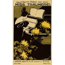 Miss Traumerei Piano Mulher Flores Partitura Poster Repro