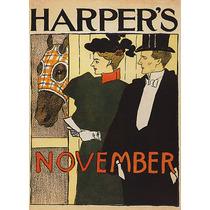 Cavalo Animal Homem Mulher Novembro Harpers Poster Repro