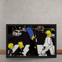 Quadro Decorativo Beatles Simpons Abbey Road 50x40