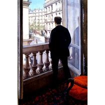 Homem Em Sua Janela Varanda Pintor Caillebotte Tela Repro