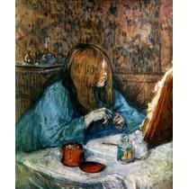 Mulher Se Olhando Espelho Banheiro Pintor Lautrec Tela Repro