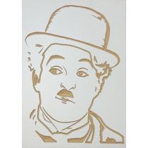 Quadro Entalhado Em Madeira - Charles Chaplin
