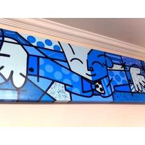 O Abraço Azul Releitura Romero Britto 50 X 150cm Imperdível