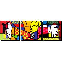Quadro Romero Brito - O Abraço - Pintado À Mão 160x60 Cm