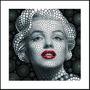 Quadro Moldura Aluminio Decoração Marilyn Monroe 3d 60x60