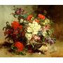 Lindo Cesto Com Flores Coloridas Pintor Cauchois Repro Tela