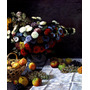 Lindo Arranjo Flores Coloridas Frutas Pintor Monet Tela Repr