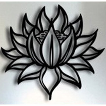 Quadro Oriental Escultura Parede Mdf Flor De Lotus 50x50 Cm
