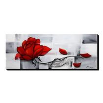 Quadro Decorativo Rosa Vermelha 40x105cm