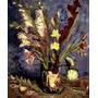 Vaso Com Lindas Flores Gladíolos Pintor Van Gogh Tela Repro