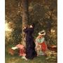 Garotas No Jardim Escrever Árvore Pintor Salmson Tela Repro