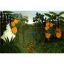 Paisagem Floresta Leão Alimento Pintor Rousseau Tela Repro