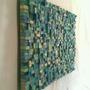 Quadro Mosaico Colorido Madeira Arte Artesanato Abstrato