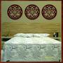 Trio Quadros Decorativo Esculturas Parede Mdf Mandalas 40 Cm