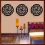 Trio Quadros Mandalas Mdf Escultura De Parede Vazada - 45 Cm