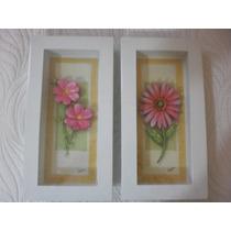 Quadro Em Arte Francesa- Flor Cor De Rosa