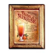 Quadro Tequila Sunrise C/ Moldura Em Madeira