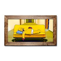 Quadro Homer Simpsons Dormindo C/ Moldura Em Madeira