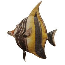 Peixe De Metal Preto E Amarelo Para Pendurar Na Parede