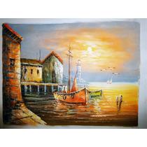 Quadro Tela Óleo Pintado A Mão O Barco 30x40cm Oil Painting