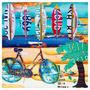 Tela Impressa Praia Com Bike E Pranchas Fullway