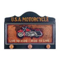 Pendurador/quadro U.s.a Motorcycle C/ 3 Ganchos Oldway