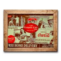 Quadro Leopold Cafe E Bar Coca Cola C/ Moldura Em Madeira
