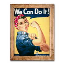 Quadro Pin Up We Can Do It C/ Moldura Em Madeira