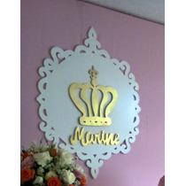 Placa Coroa +nome Mdf Provençal Decor Festa Aplique 1 Metro