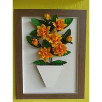 Quadro Em Mdf Com Flores De Eva - Apiadinho Amarelo