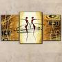 Quadro De Parede Decorativo Ballet Africano G G 3 Peças