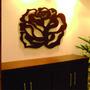 Quadro Floral Em Escultura De Mdf Vazado Frete Grátis 90x90