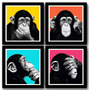 Kit 4 Quadros Chimps Pop Art Macacos Arte Decoracao Vidro