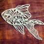 Quadro Decor Escultura Parede Vazada Mdf Crú 70cm - Peixe