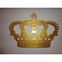 Coroa Mdf Dourada Provençal Decor Festa Aplique Parede 60cm