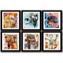 Kit 6 Quadros Basquiat Decorativo Arte Decoracao Vidro