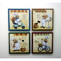 4 Painel Padeiro Cozinha Quadro Decoração Café Quadrinho