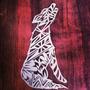 Quadro Decorativo Escultura Parede Vazada Mdf Crú 70cm- Lobo