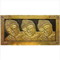 Quadro Três Budas Dourado Madeira Importado Indonésia Lindo!