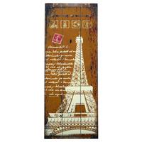 Placa Decorativa Torre Eiffel Laranja Em Madeira - 80x30 Cm