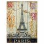 Placa Decorativa Paris Torre Eiffel De Madeira - 40x30 Cm