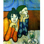 Casal Saltimbancos No Bar Bebendo Pintor Picasso Tela Repro