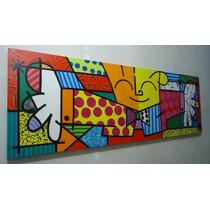Releitura De Romero Brito - O Abraço - Tam 50x150 Painel
