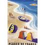 Praia Barco Vela Ferias Franca Paris Antigo Poster Repro